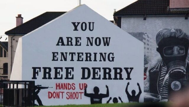 "A picture of the ""You Are Now Entering Free Derry"" mural in Derry, Northern Ireland."