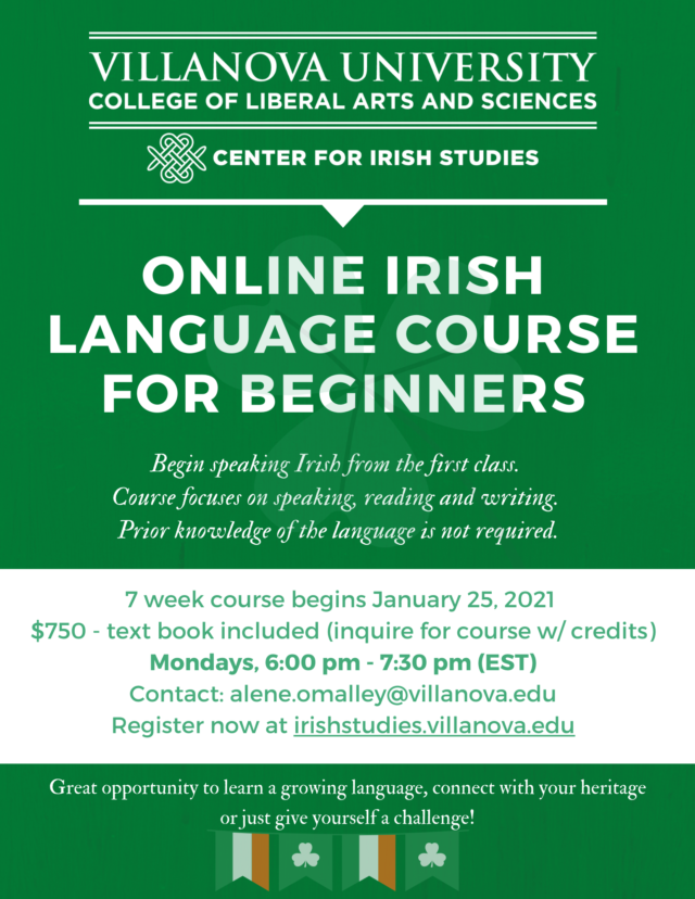 A flyer describing the Villanova Irish language course