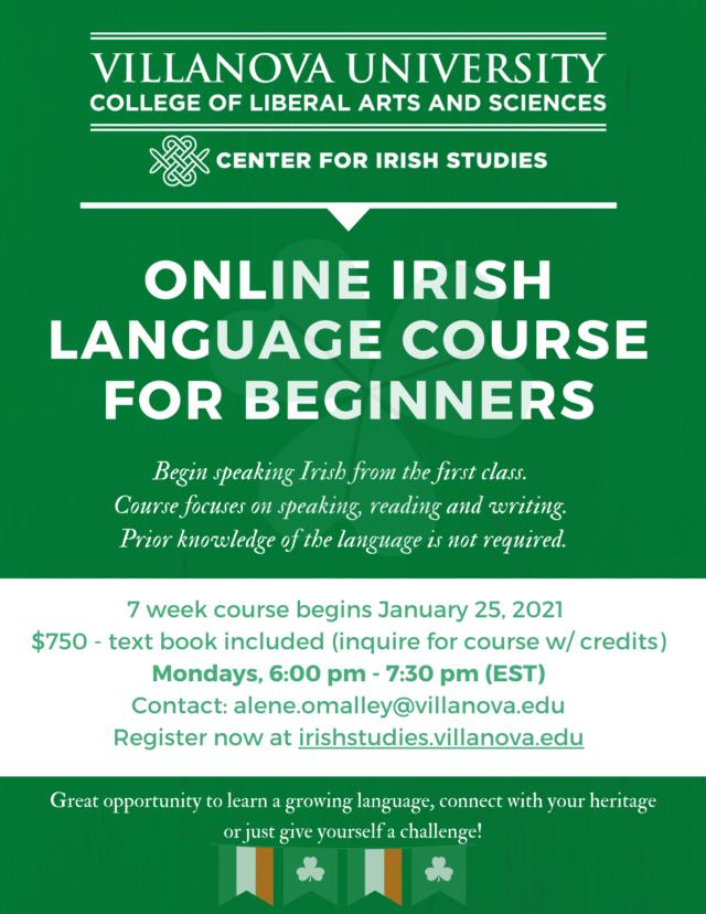 A flyer describing the Villanova Irish language course